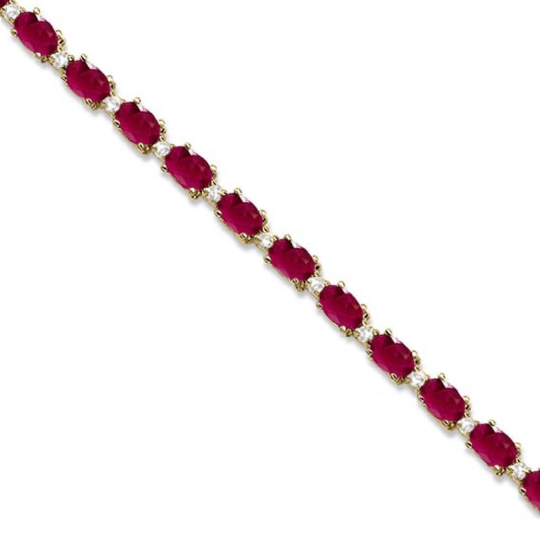 Ruby and Diamond Tennis Bracelet 14k Yellow Gold (12.00