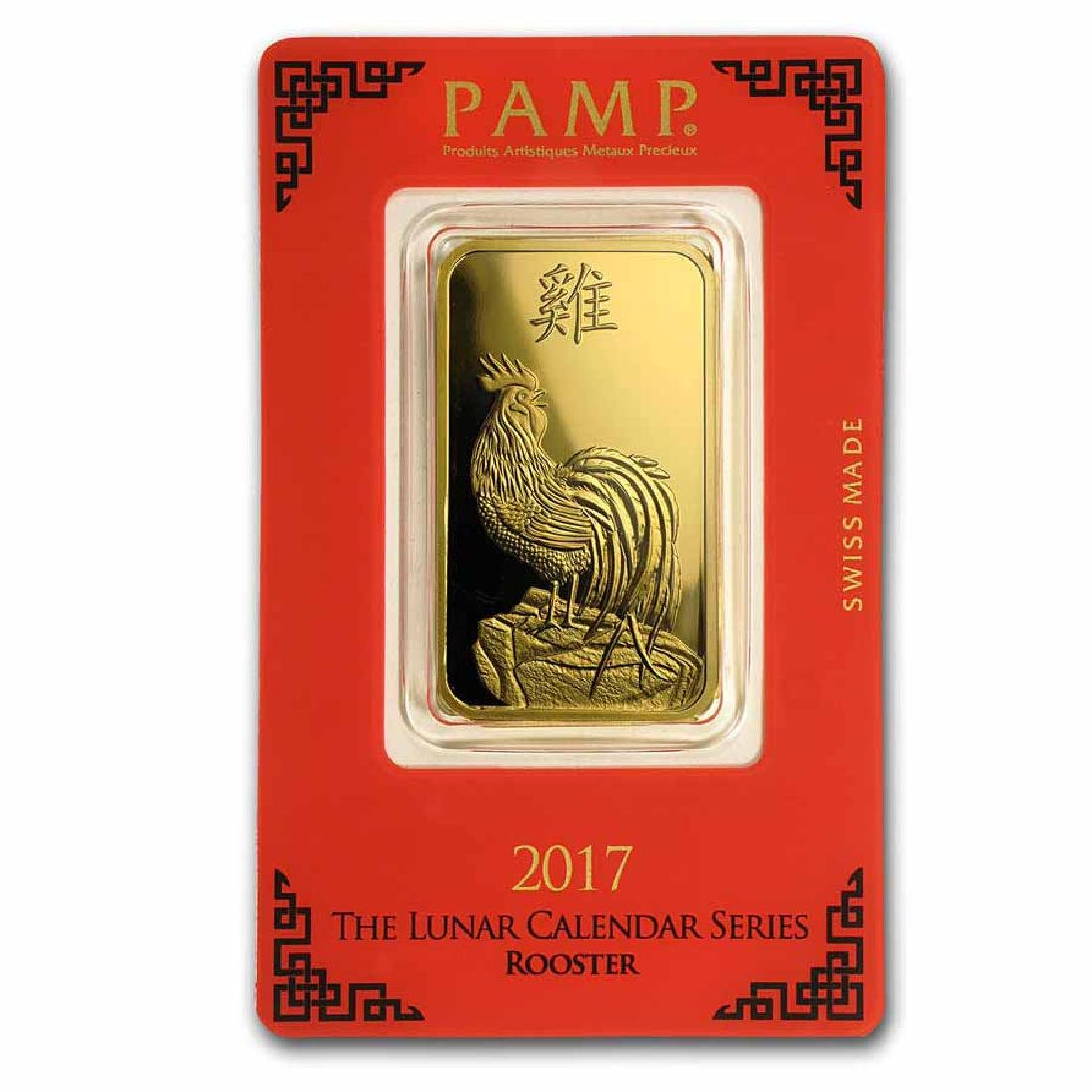 PAMP Suisse One Ounce Gold Bar - 2017 Rooster Design