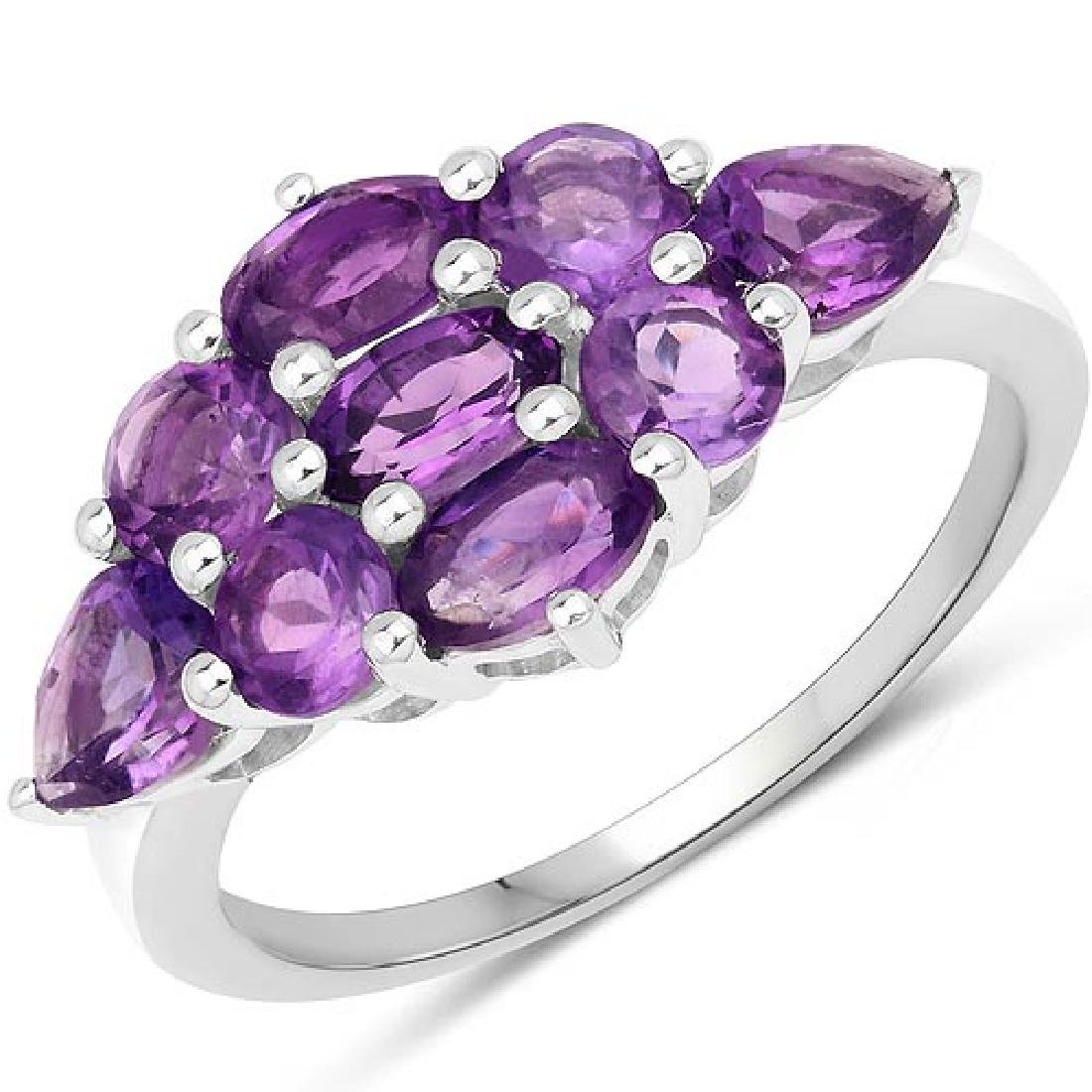 2.22 Carat Genuine Amethyst .925 Sterling Silver Ring