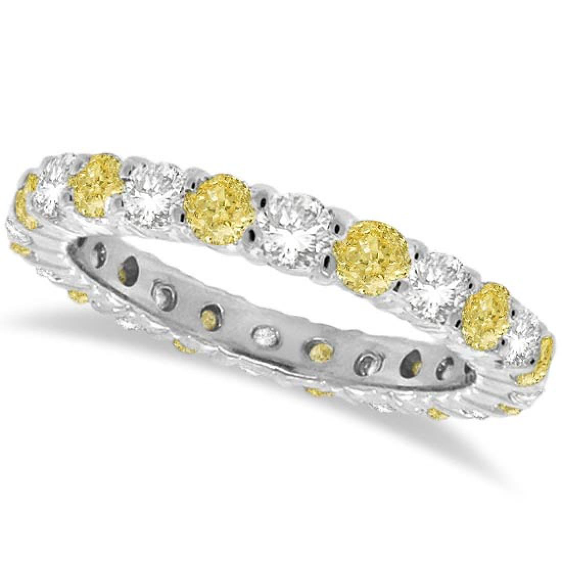Fancy Yellow Canary and White Diamond Eternity Band 14k