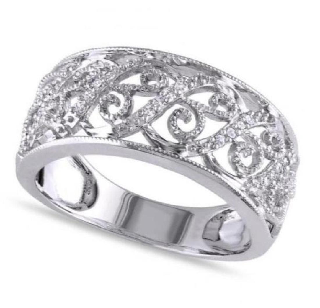 Ladies Pave Set Filigree Diamond Ring 14k White Gold 0.