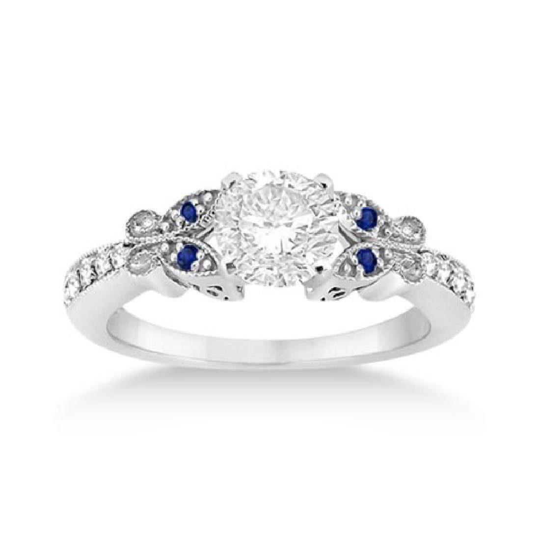 Butterfly Diamond and Sapphire Engagement Ring Platinum