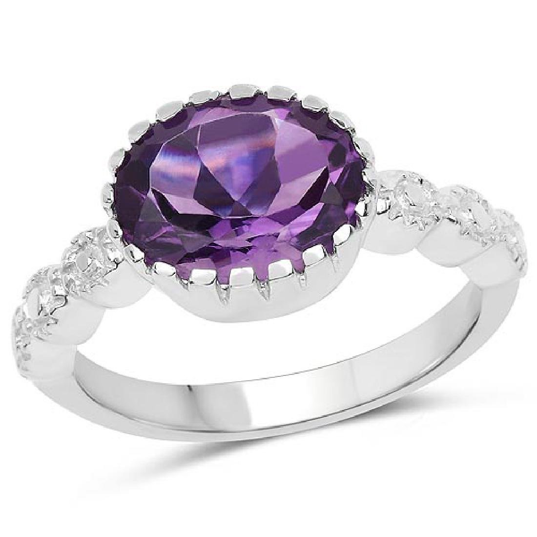 2.15 Carat Genuine Amethyst .925 Sterling Silver Ring