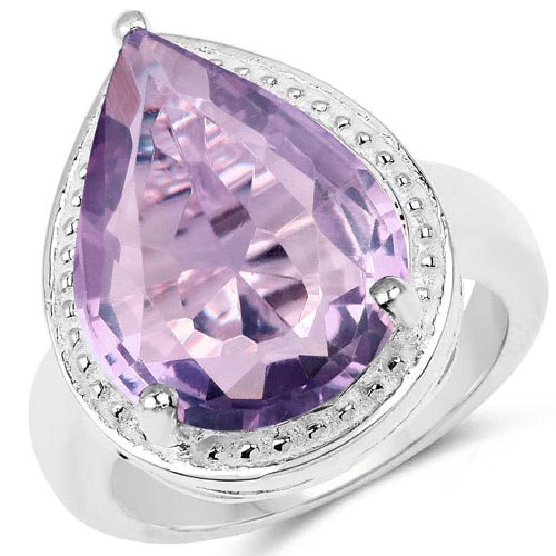 9.00 Carat Genuine Amethyst .925 Sterling Silver Ring