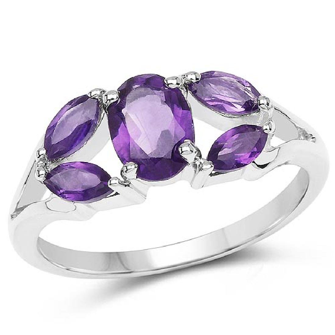 1.40 Carat Genuine Amethyst .925 Sterling Silver Ring