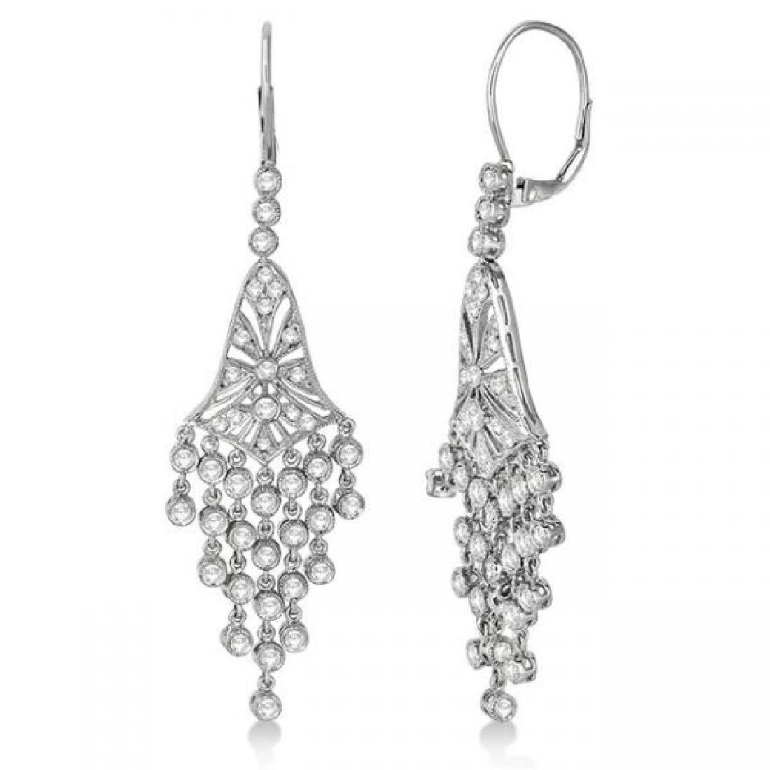 Bezel-Set Dangling Chandelier Diamond Earrings 14K Whit