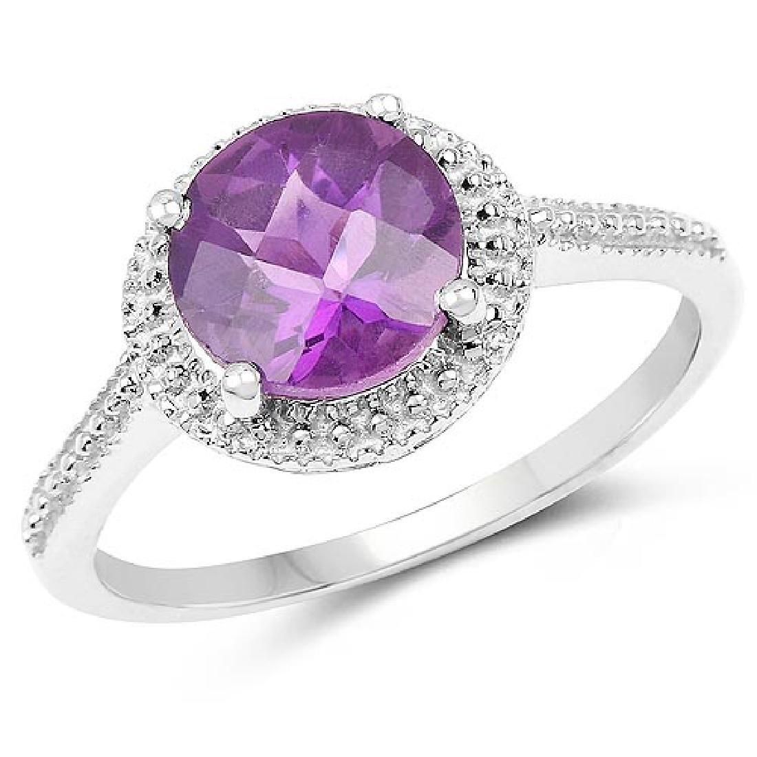 1.76 Carat Genuine Amethyst .925 Sterling Silver Ring
