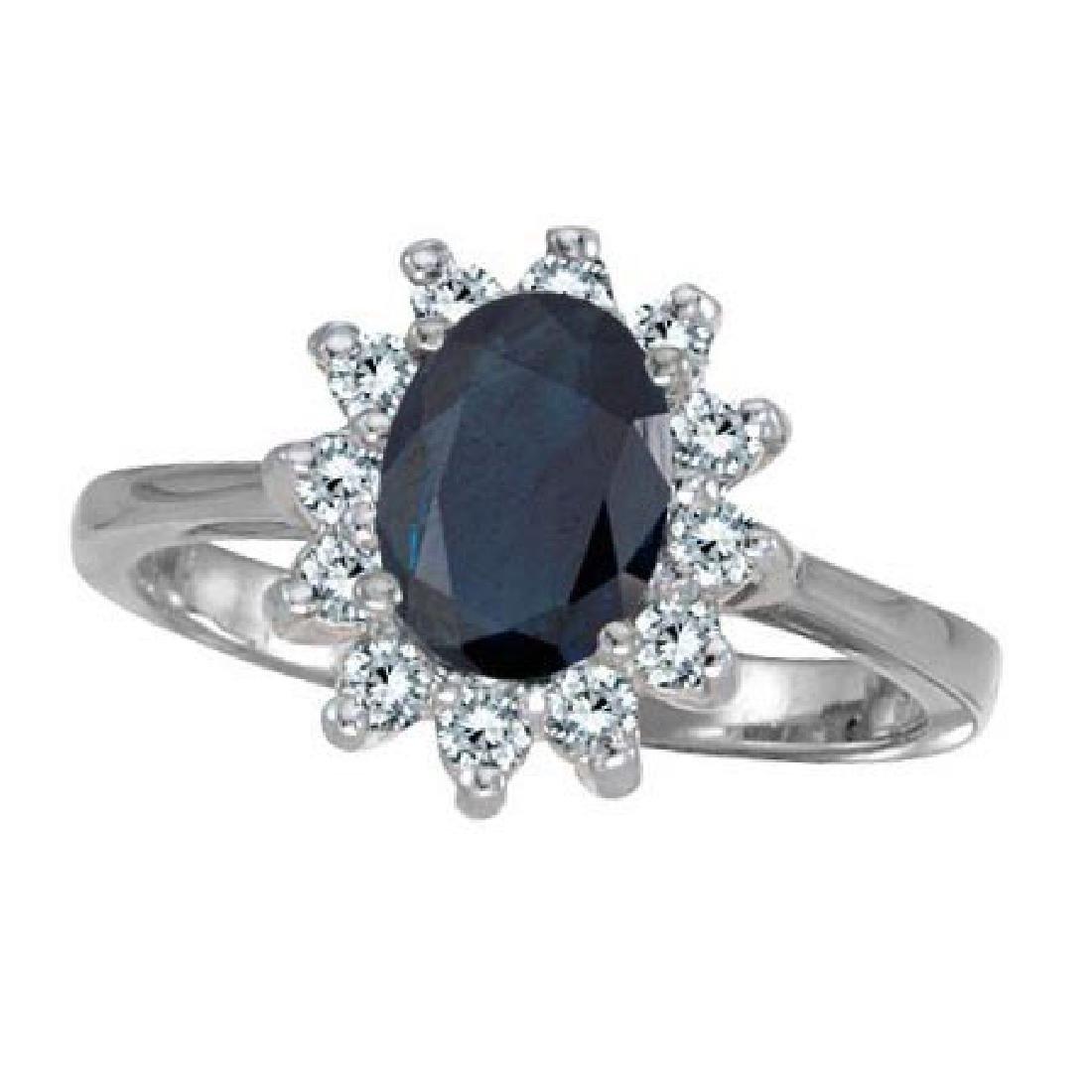 Lady Diana Blue Sapphire and Diamond Ring 14k White Gol