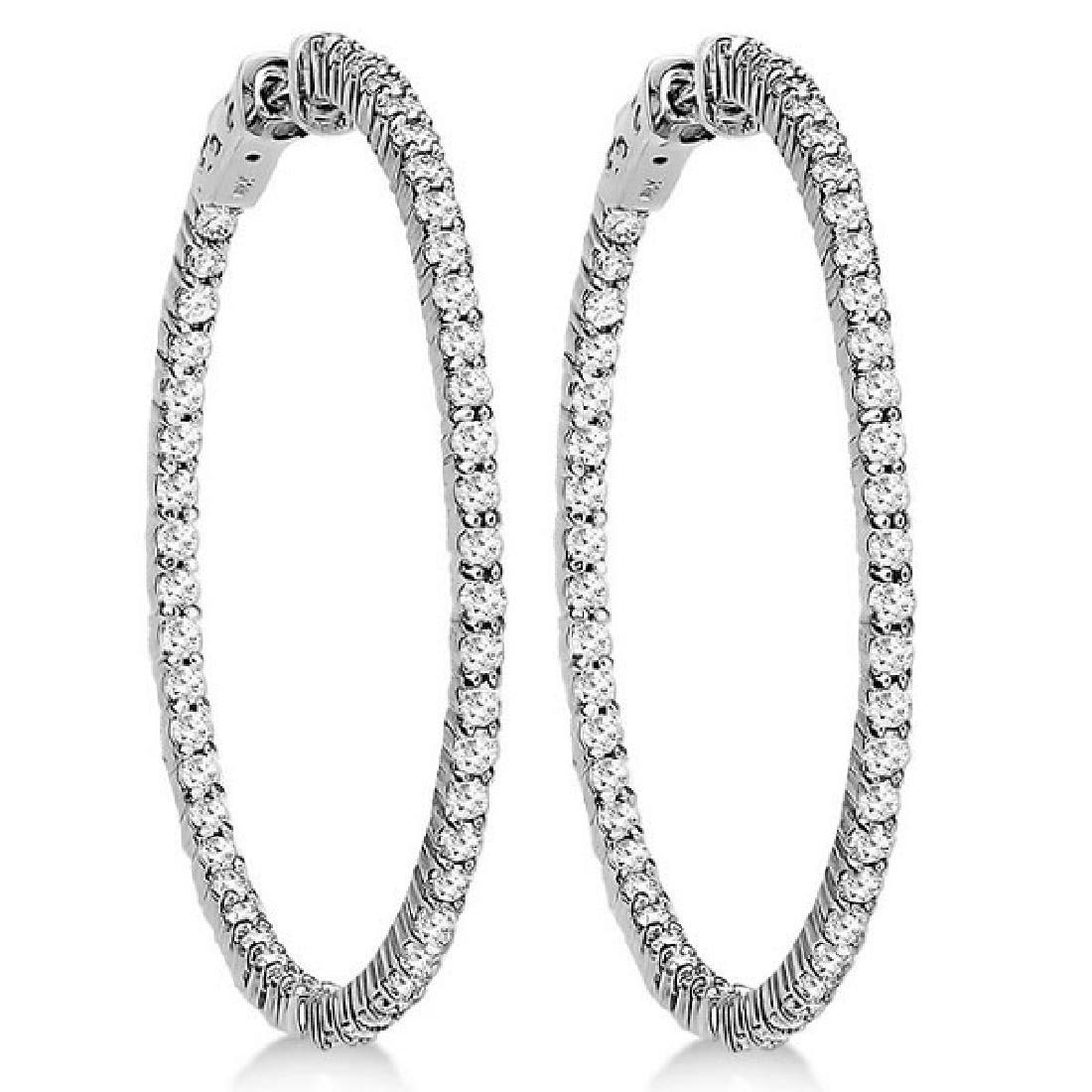 Prong-Set Diamond Hoop Earrings in 14k White Gold (3.00