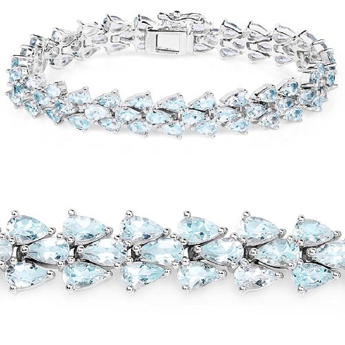 14.62 Carat Genuine Aquamarine .925 Sterling Silver Bra