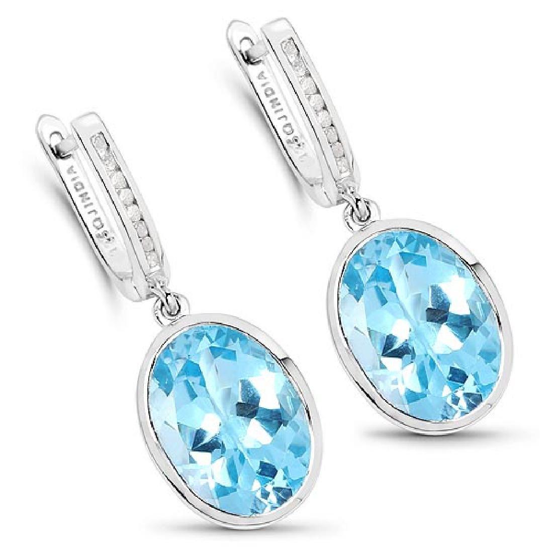 15.13 Carat Genuine Blue Topaz and White Diamond .925 S