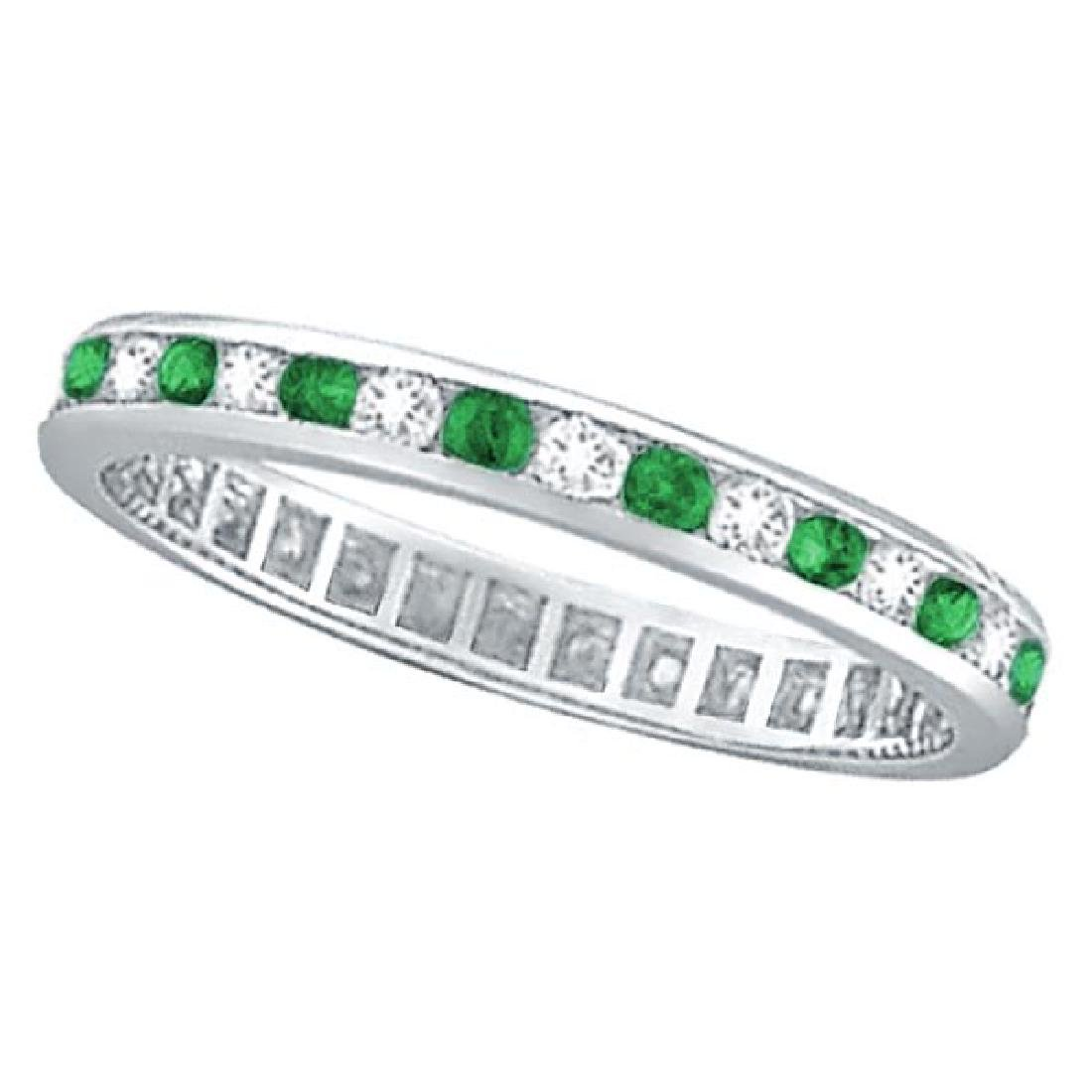 Emerald and Diamond Channel Set Eternity Band Ring 14k
