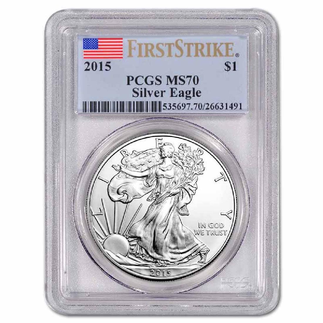 Certified Uncirculated Silver Eagle 2015 MS70 PCGS Firs