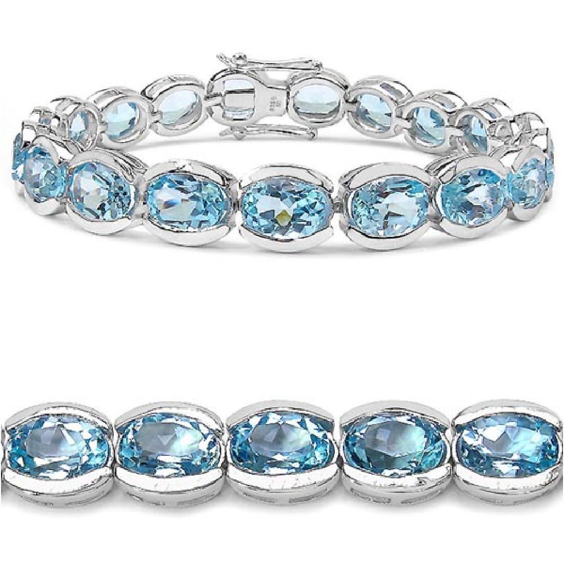 47.50 Carat Genuine Blue Topaz .925 Sterling Silver Bra