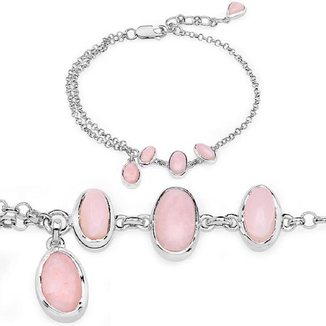 4.67 Carat Genuine Pink Opal .925 Sterling Silver Brace