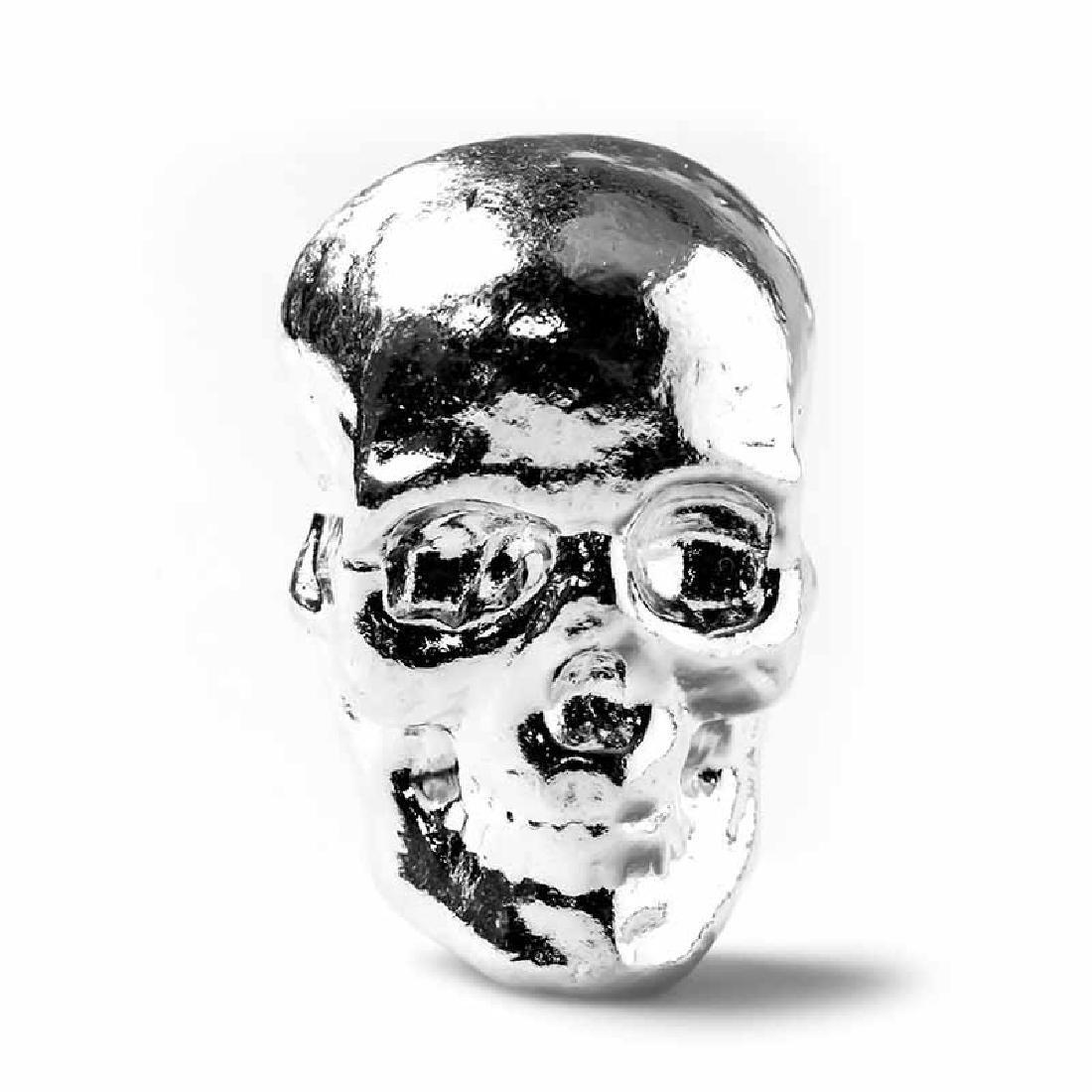 2 oz Atlantis Mint Hand Poured .999 Silver Skull