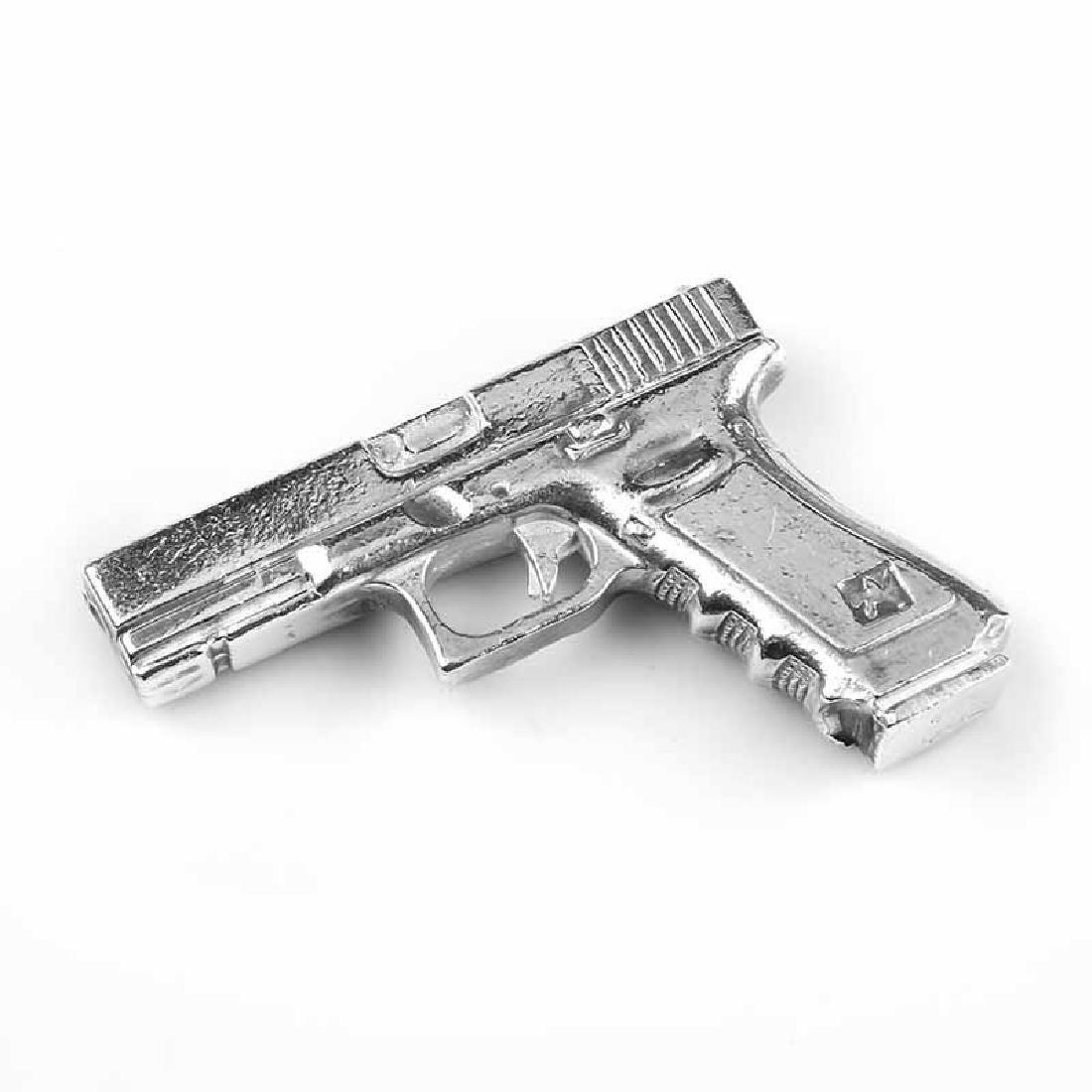 Hand Poured Silver Gun 9 oz (Miniature Size)