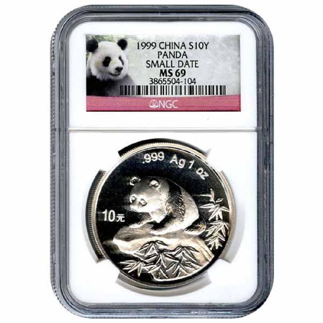 Certified Chinese Panda One Ounce 1999 Small Date MS69