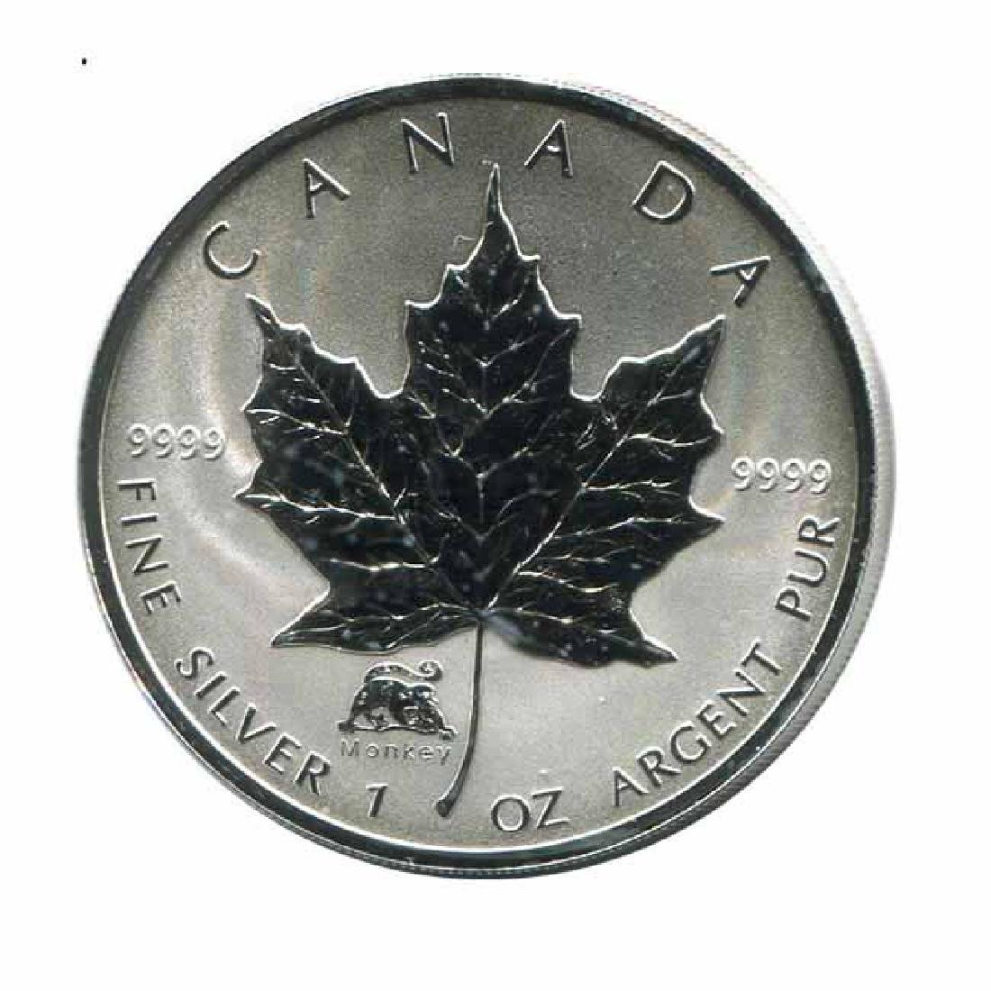 2004 Canada 1 oz. Silver Maple Leaf Reverse Proof Monke