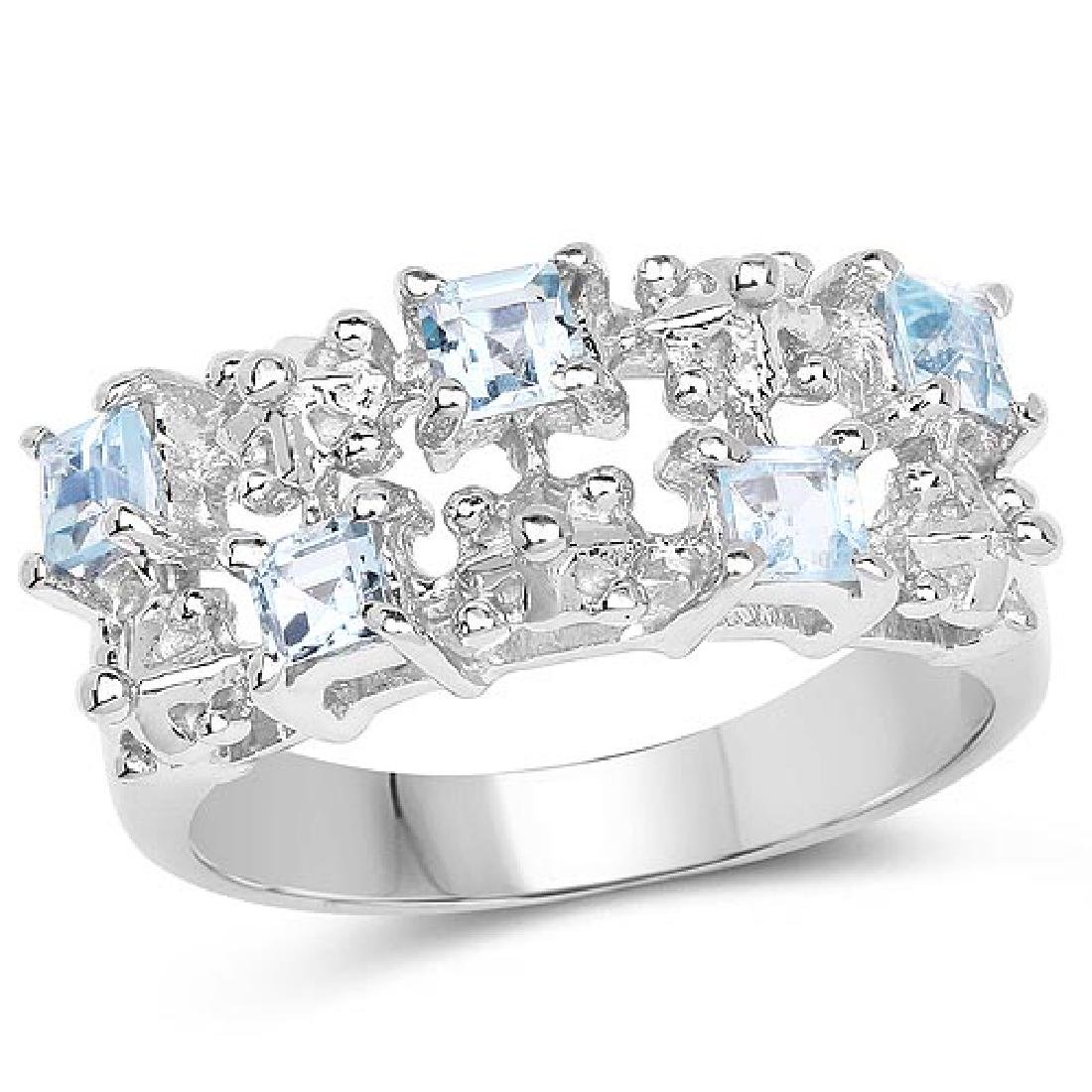 0.95 Carat Genuine Blue Topaz .925 Sterling Silver Ring