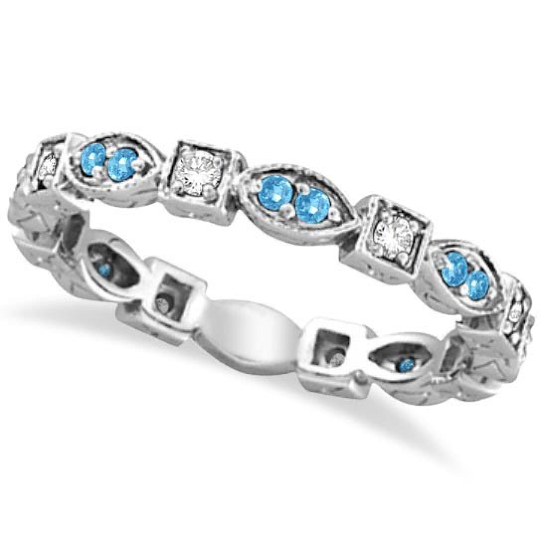 Aquamarine and Diamond Eternity Anniversary Ring Band 1