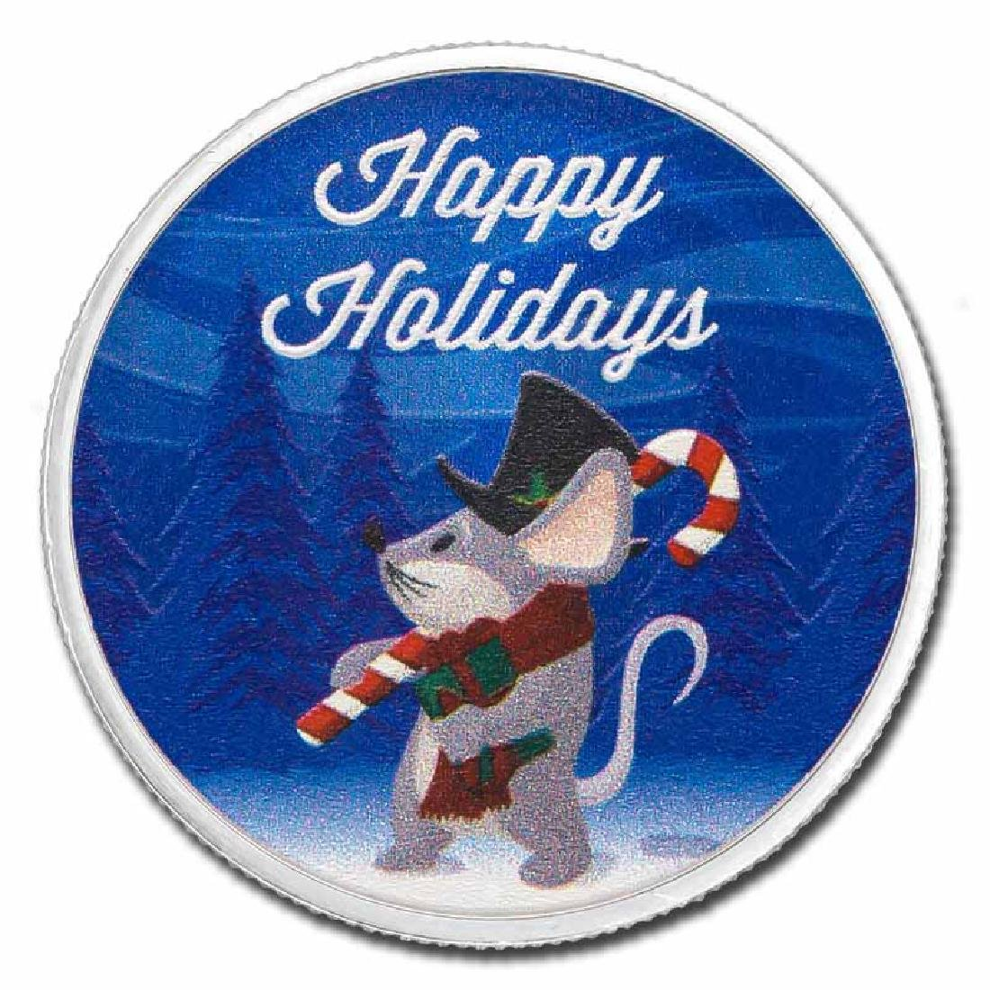Colorized Christmas 2017 Silver Round Happy Holidays Mo