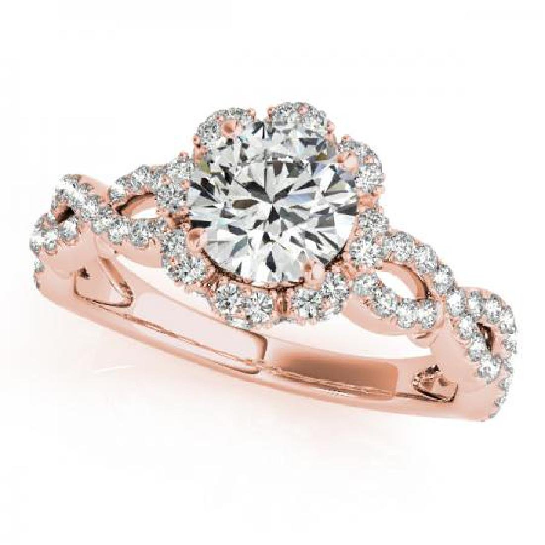 CERTIFIED 18K ROSE GOLD 1.00 CT G-H/VS-SI1 DIAMOND HALO