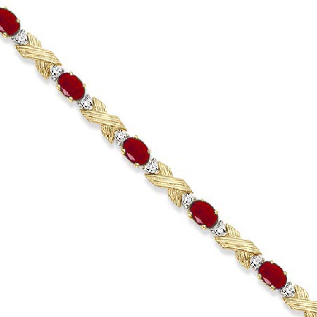 Ruby and Diamond XOXO Link Bracelet in 14k Yellow Gold