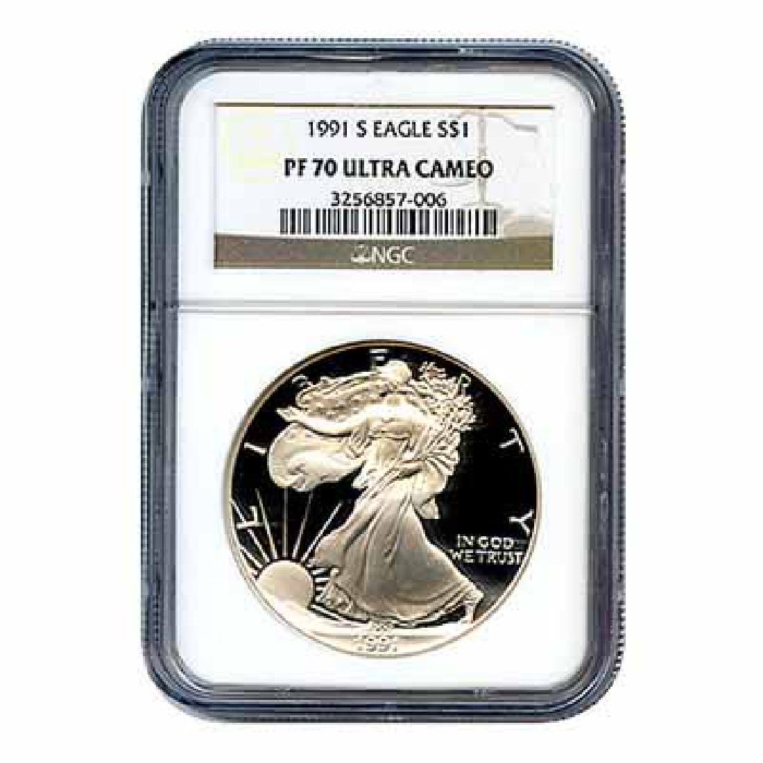 Certified Proof Silver Eagle 1991 PF70 NGC