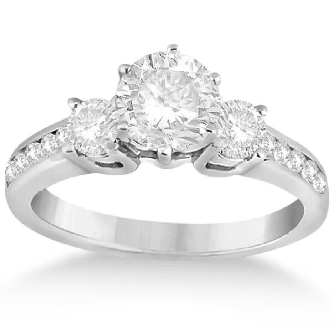Three-Stone Diamond Engagement Ring in White Gold 1.70
