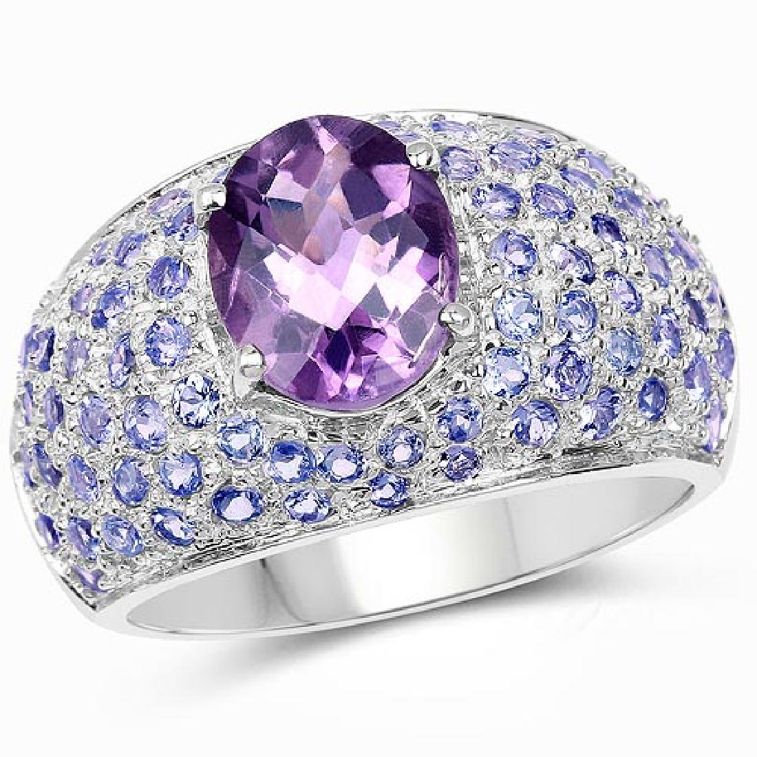 4.21 Carat Genuine Amethyst and Tanzanite .925 Sterling