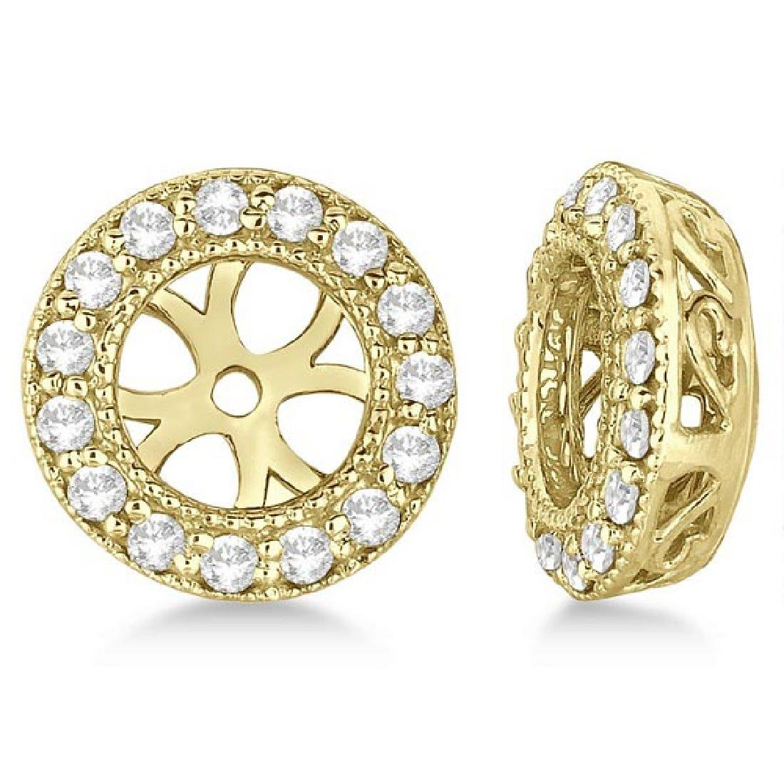 Vintage Round Cut Diamond Earring Jackets 14k Yellow Go