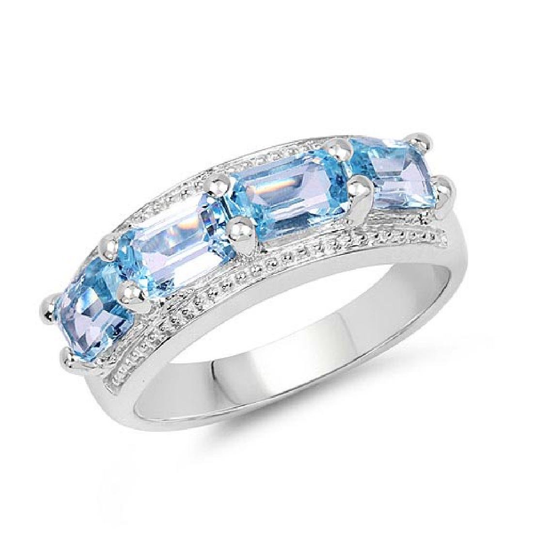 2.72 Carat Genuine Blue Topaz .925 Sterling Silver Ring