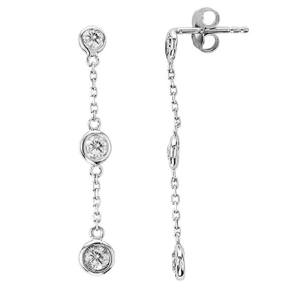 Diamonds by The Yard Bezel-Set Drop Earrings 14k White