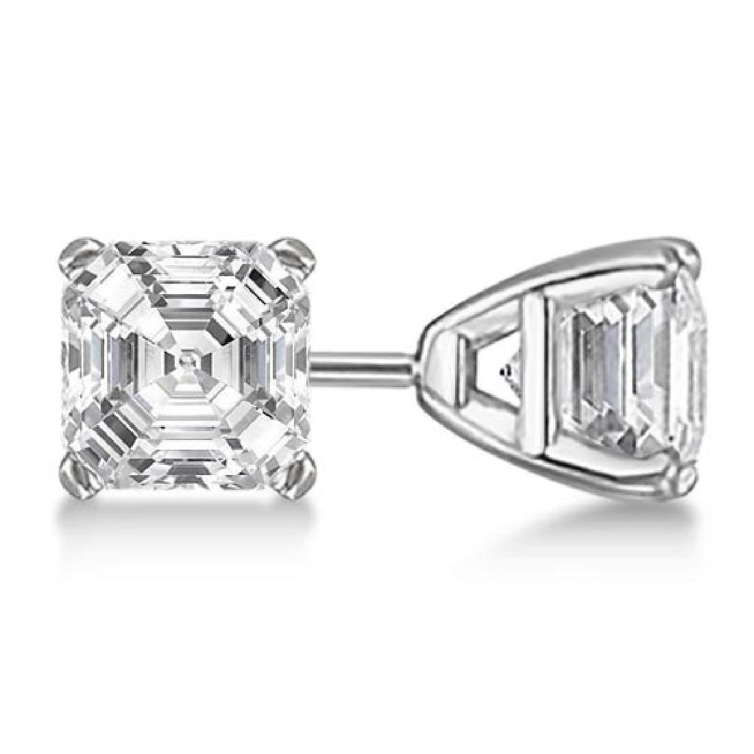 1.00ct. Asscher-Cut Diamond Stud Earrings Platinum (G-H
