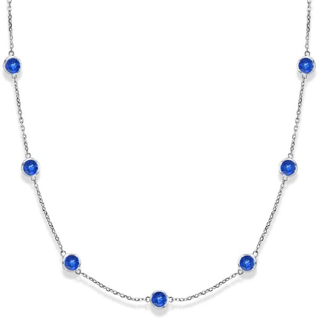 Blue Sapphires Gemstones by The Yard Necklace 14k White