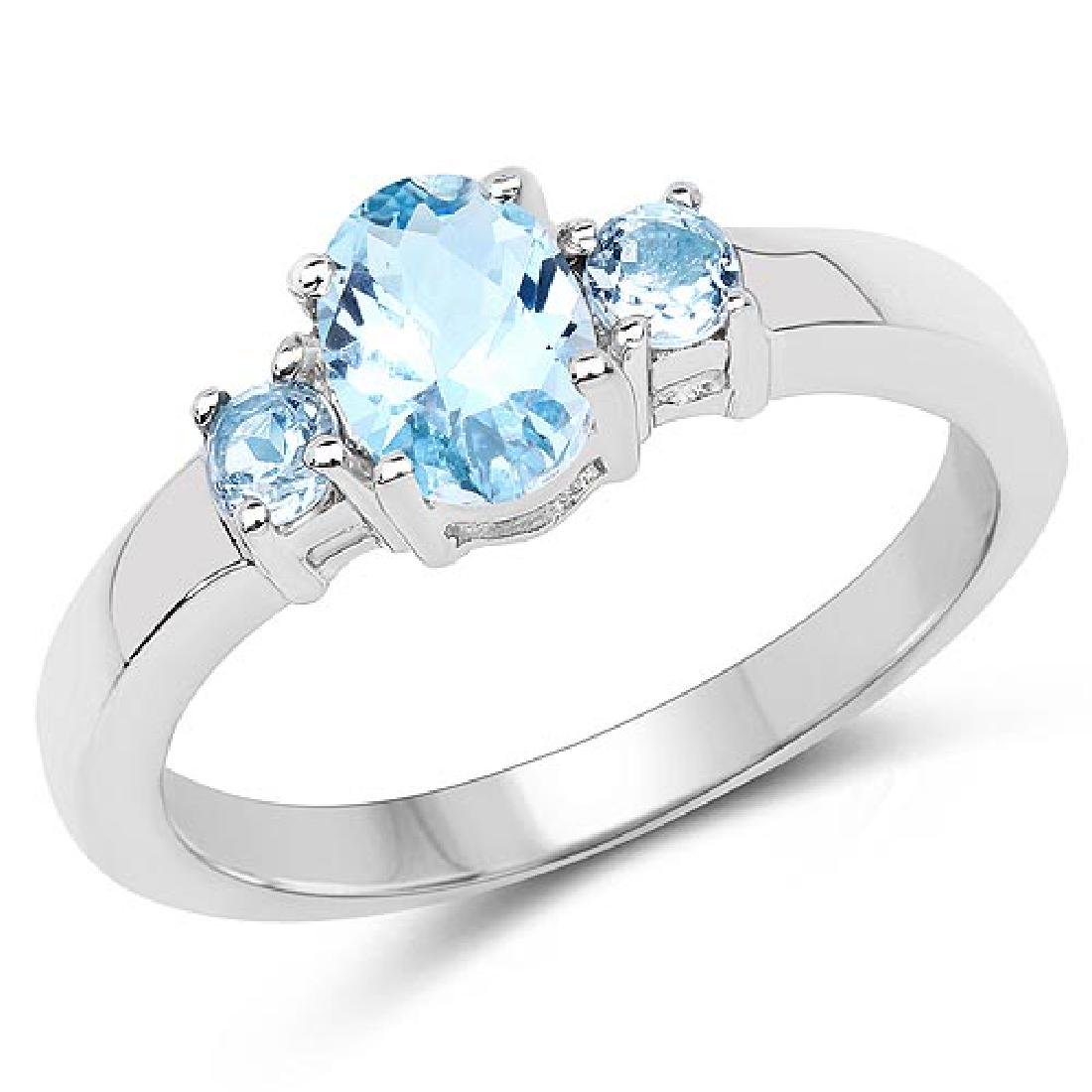 1.19 Carat Genuine Blue Topaz .925 Sterling Silver Ring