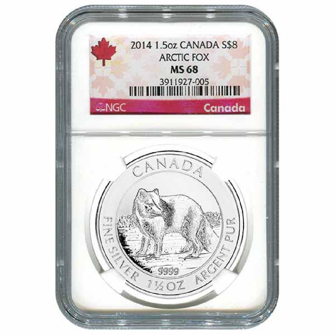 Certified 2014 Canadian Silver Arctic Fox 1.5 oz MS68 N