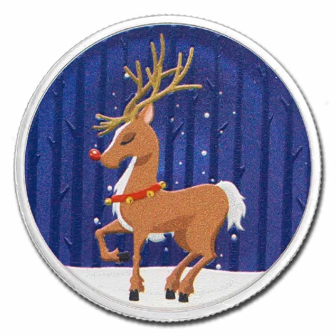 Colorized Christmas 2017 Silver Round Rudolph The Red-N