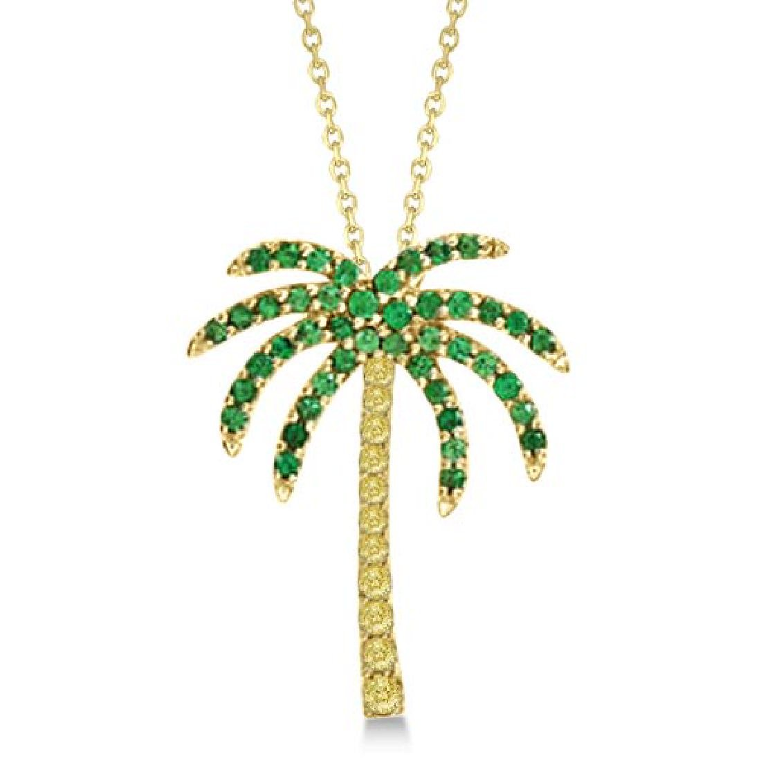 Tsavorite and Yellow Sapphire Palm Tree Necklace 14k Ye
