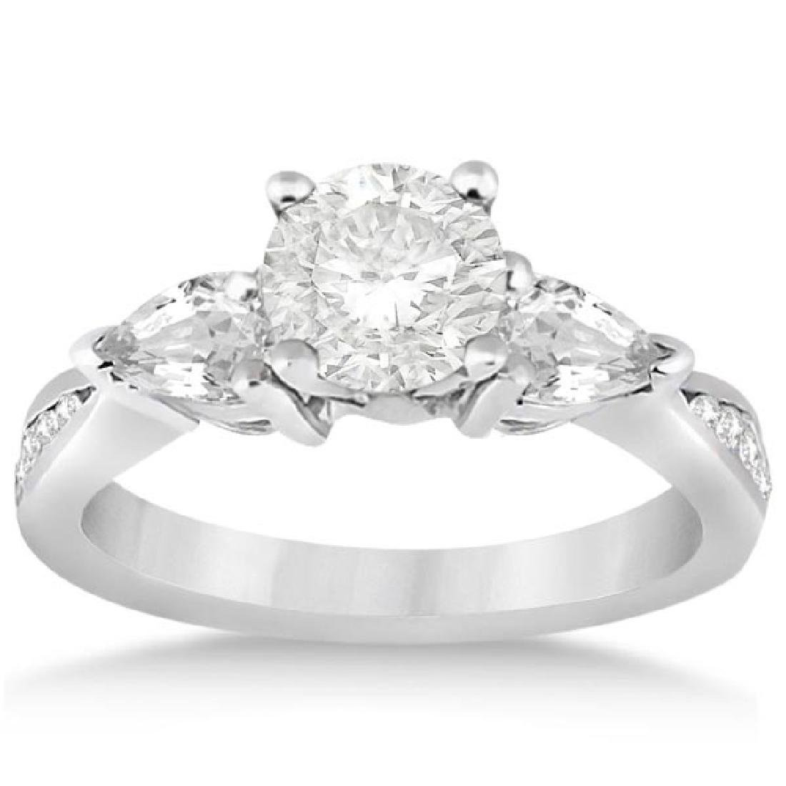 Three Stone Pear Cut Diamond Engagement Ring 14k White