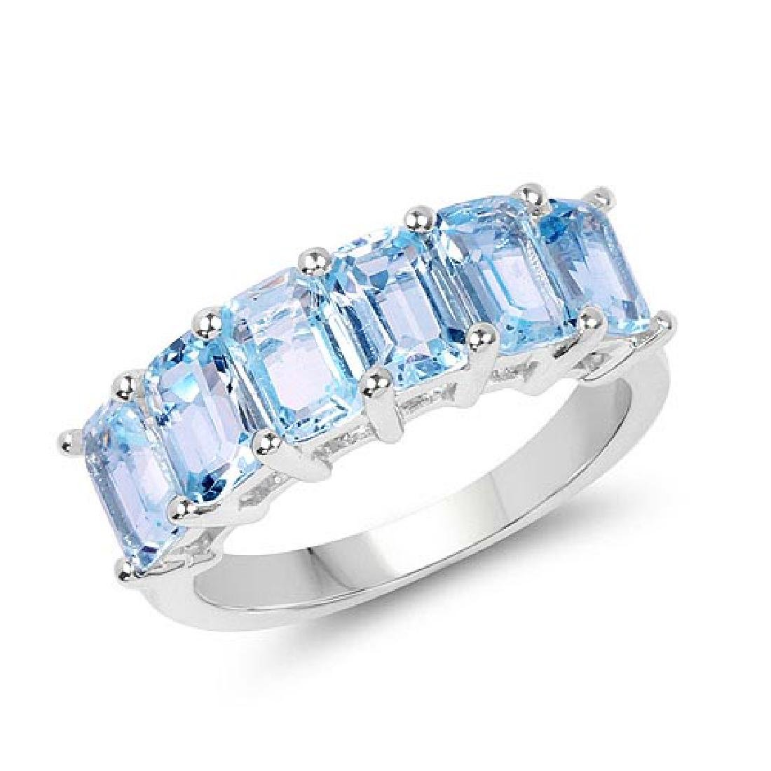 4.08 Carat Genuine Blue Topaz .925 Sterling Silver Ring