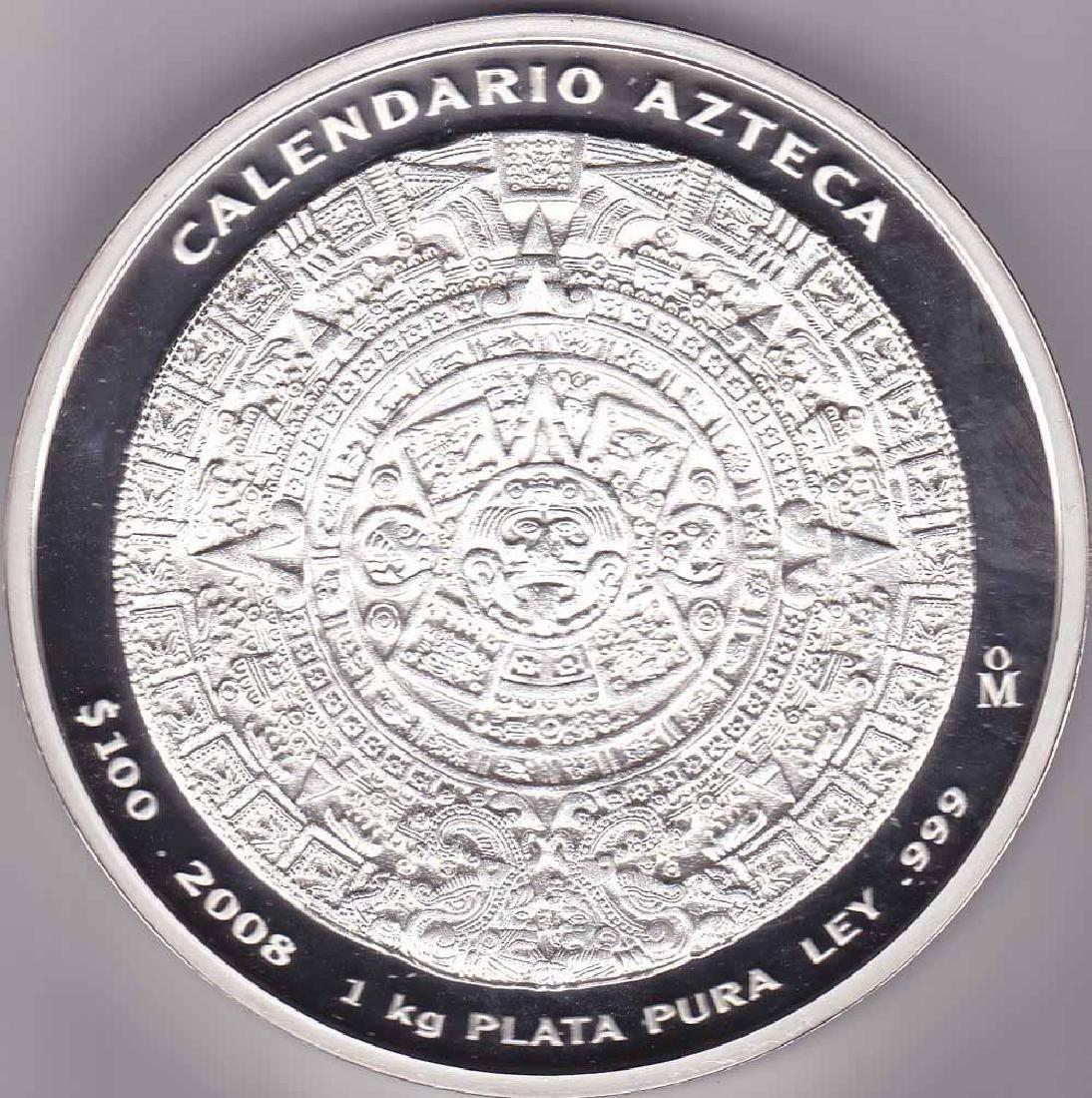 Mexico $100 peso 1 kilo silver Azteca 2009 Calendar Wh