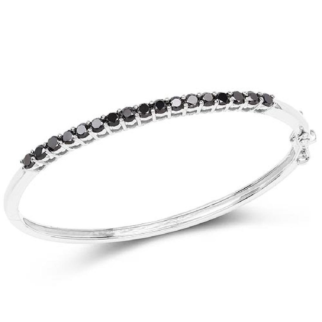 2.50 Carat Genuine Black Diamond .925 Sterling Silver B