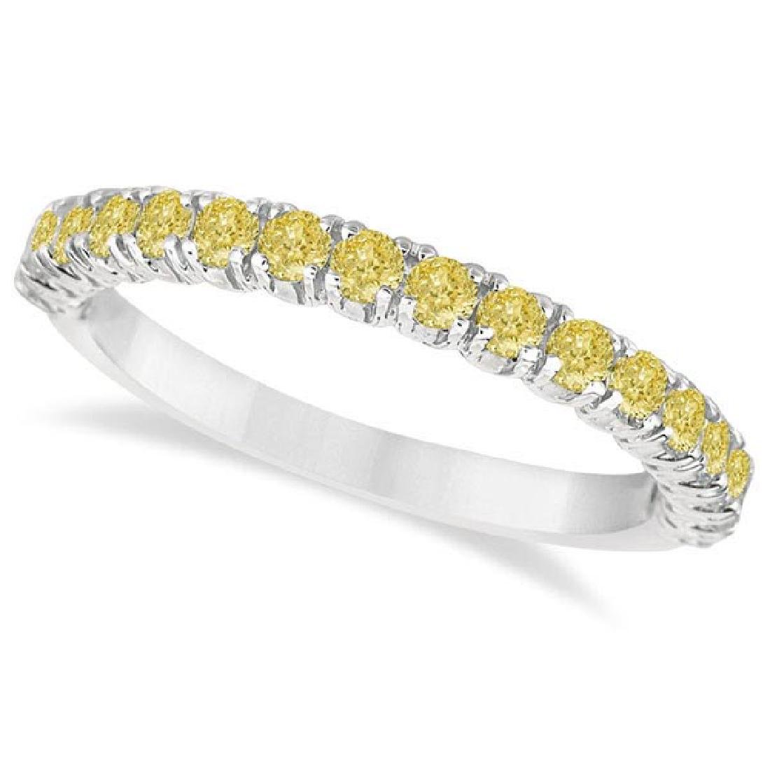 Half-Eternity Pave Yellow Diamond Stacking Ring 14k Whi