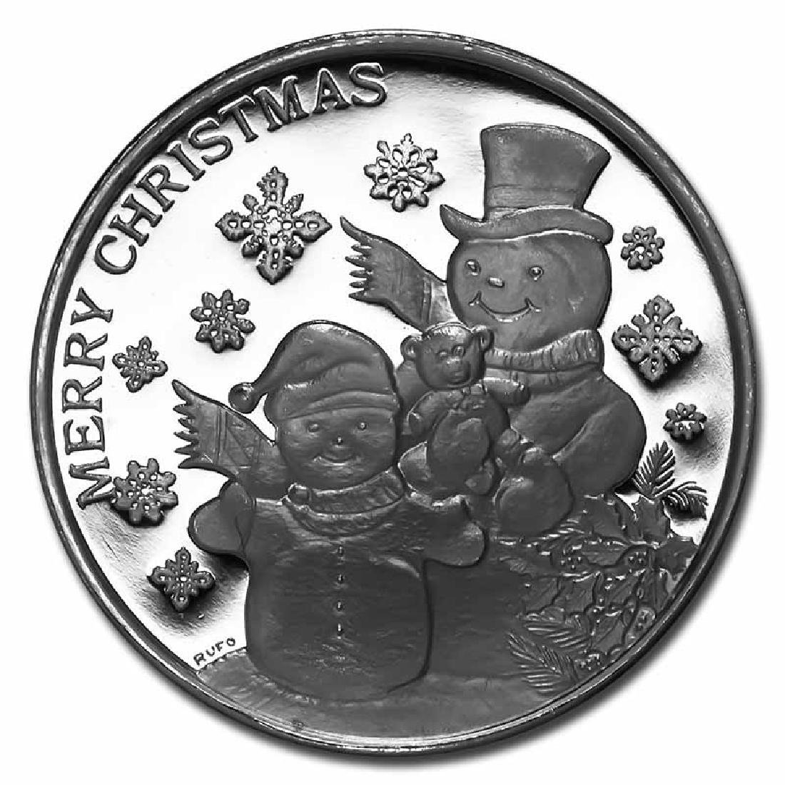 Christmas 2017 Silver Round Snowman Family Merry Christ