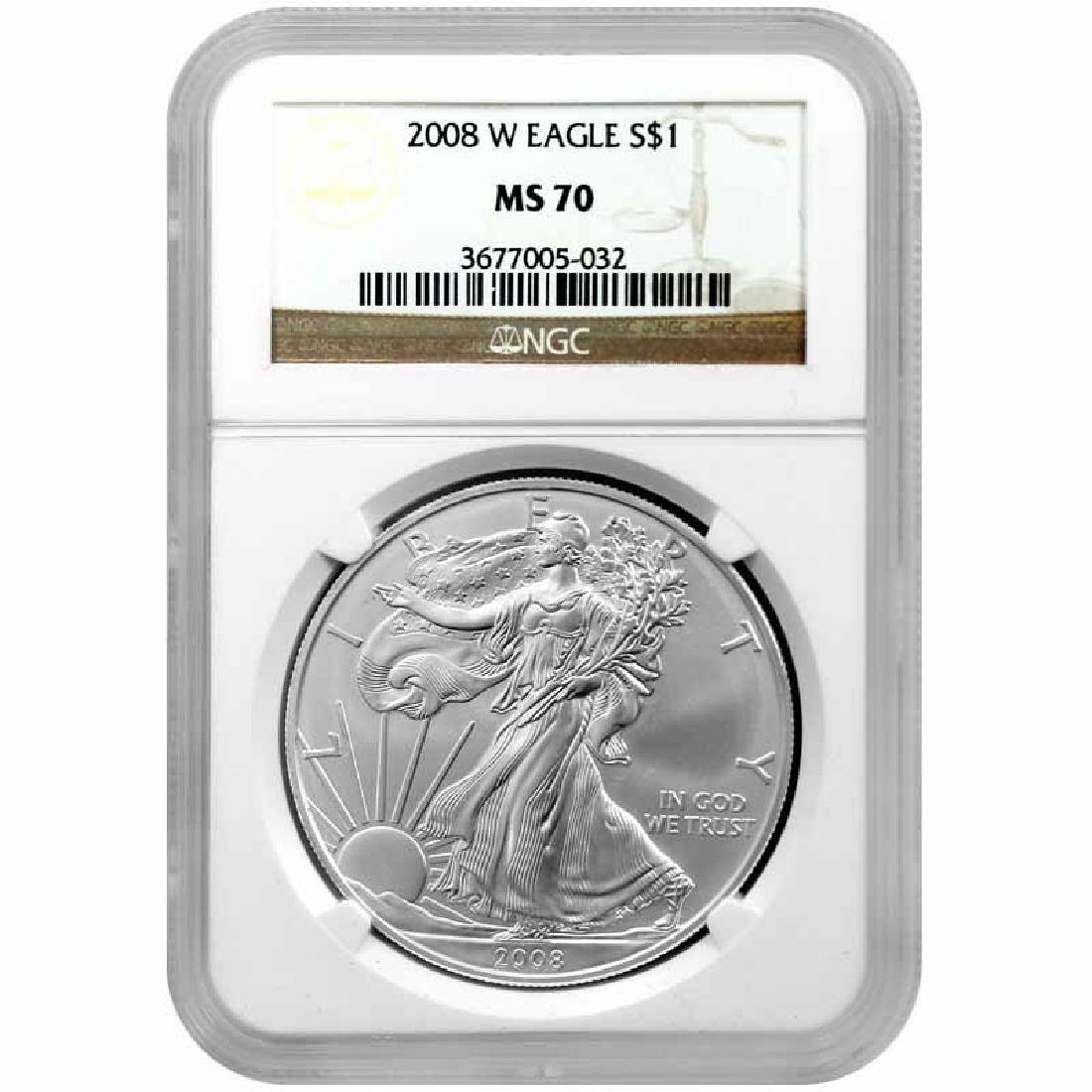 Burnished 2008-W Silver Eagle MS70 NGC