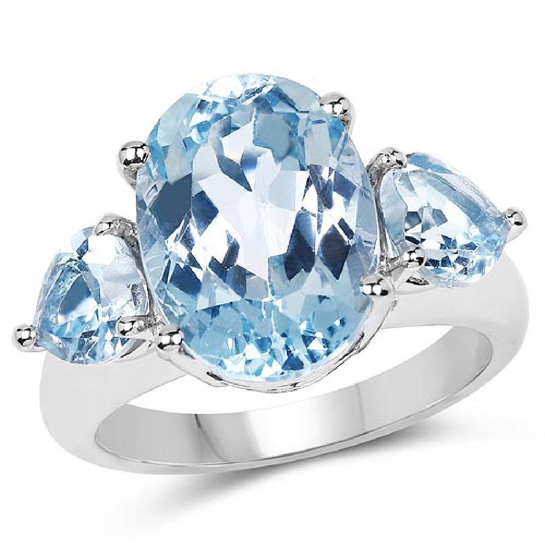 9.10 Carat Genuine Blue Topaz .925 Sterling Silver Ring