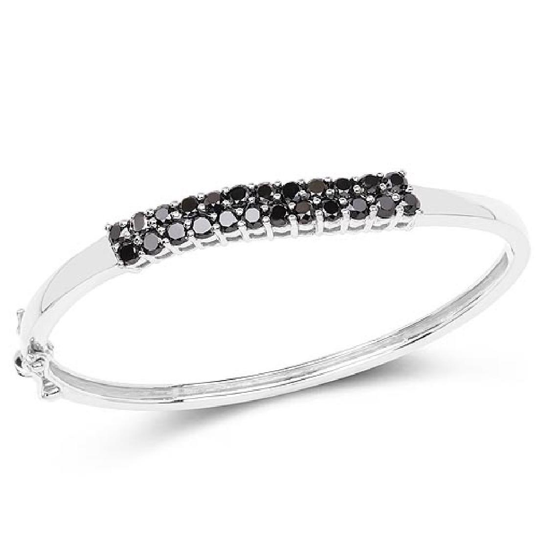 3.53 Carat Genuine Black Diamond .925 Sterling Silver B