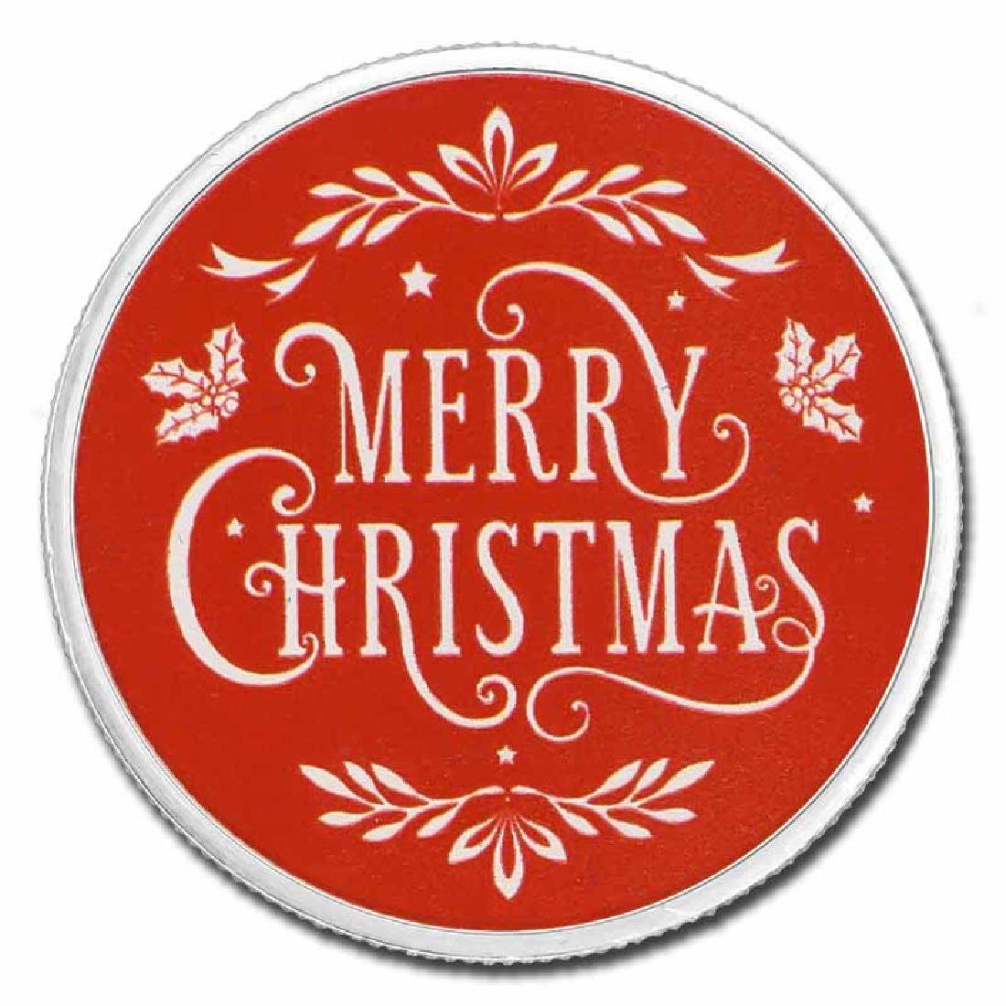 Colorized Christmas 2017 Silver Round Merry Christmas R